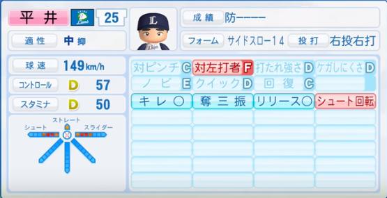 平井_西武ライオンズ_パワプロ能力データ_2017年シーズン終了時