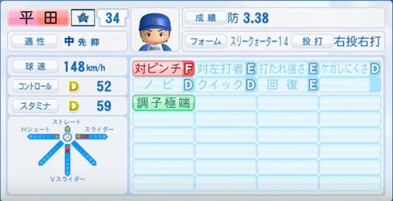 平田_横浜DeNAベイスターズ_パワプロ能力データ_2016年シーズン終了時