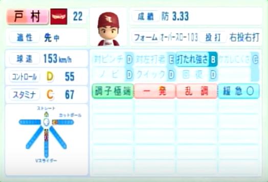 戸村_楽天イーグルス_パワプロ能力データ_2014年シーズン終了時