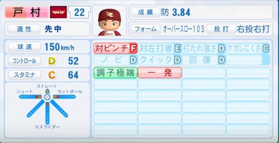 戸村_楽天イーグルス_パワプロ能力データ_2016年シーズン終了時