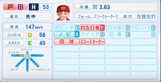 戸田_広島カープ_パワプロ能力データ_2016年シーズン終了時