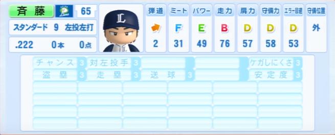 斉藤_西武ライオンズ_パワプロ能力データ_2013年シーズン終了時