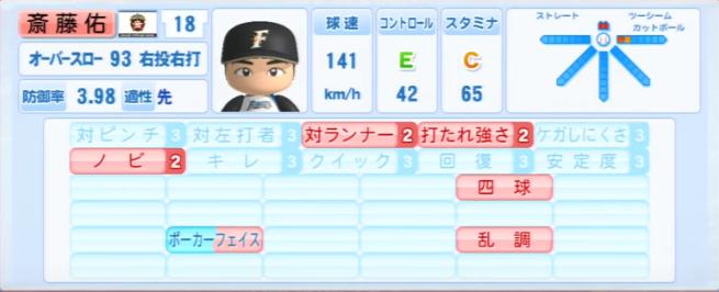 斎藤佑樹_日本ハムファイターズ_パワプロ能力データ_2013年シーズン終了時