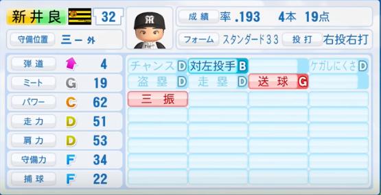 新井良太_阪神タイガース_パワプロ能力データ_2016年シーズン終了時