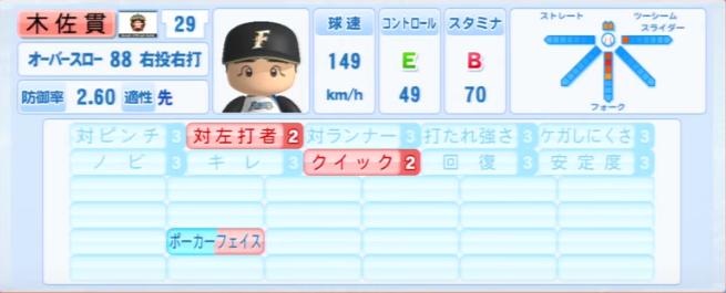 木佐貫_日本ハムファイターズ_パワプロ能力データ_2013年シーズン終了時