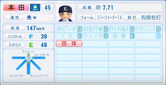 本田圭佑_西武ライオンズ_パワプロ能力データ_2017年シーズン終了時