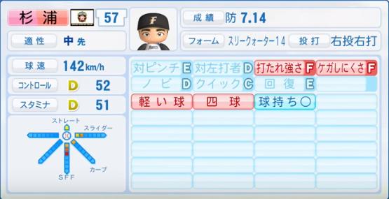 杉浦_日本ハムファイターズ_パワプロ能力データ_2017年シーズン終了時
