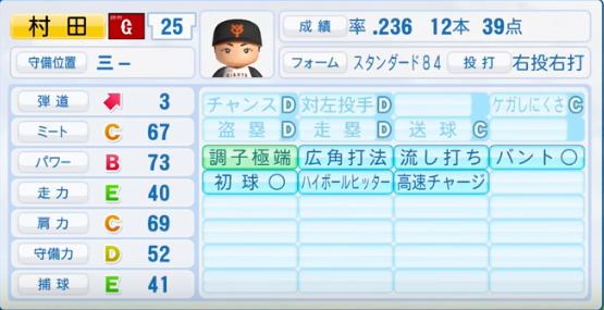 村田修一 _巨人_パワプロ能力データ_2016年シーズン終了時