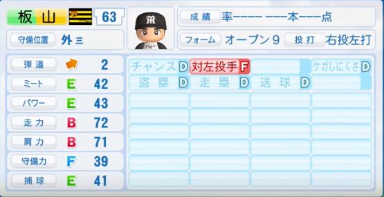 板山祐太郎_阪神タイガース_パワプロ能力データ_2016年シーズン終了時