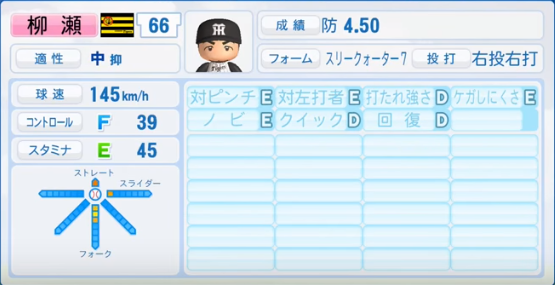 柳瀬_阪神タイガース_パワプロ能力データ_2017年シーズン終了時