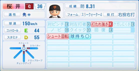 桜井_巨人_パワプロ能力データ_2017年シーズン終了時