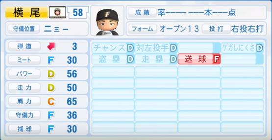横尾_日本ハムファイターズ_パワプロ能力データ_2016年シーズン終了時