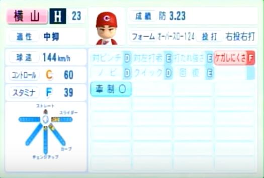 横山_広島カープ_パワプロ能力データ_2014年シーズン終了時