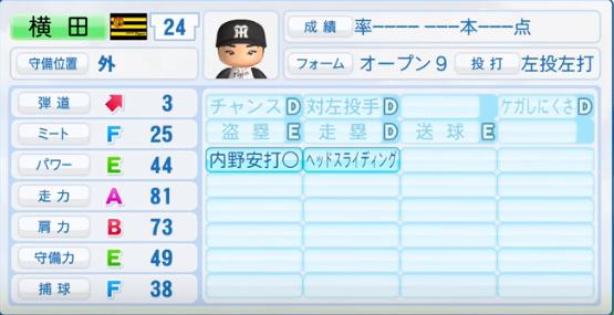 横田慎太郎_阪神タイガース_パワプロ能力データ_2016年シーズン終了時