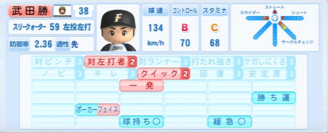 武田勝_日本ハムファイターズ_パワプロ能力データ_2013年シーズン終了時