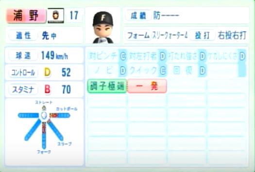 浦野_日本ハムファイターズ_パワプロ能力データ_2014年シーズン終了時