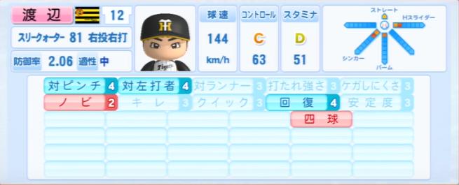 渡辺亮_阪神タイガース_パワプロ能力データ_2013年シーズン終了時