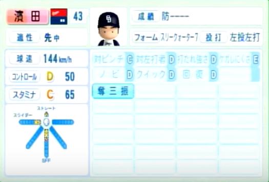 濱田達郎_中日ドラゴンズ_パワプロ能力データ_2014年シーズン終了時