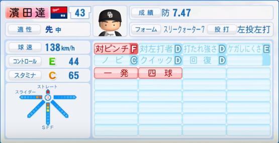 濱田達_中日ドラゴンズ_パワプロ能力データ_2016年シーズン終了時