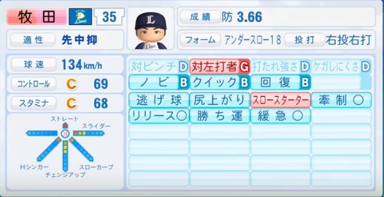 牧田_西武ライオンズ_パワプロ能力データ_2016年シーズン終了時