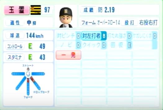 玉置_阪神タイガース_パワプロ能力データ_2014年シーズン終了時