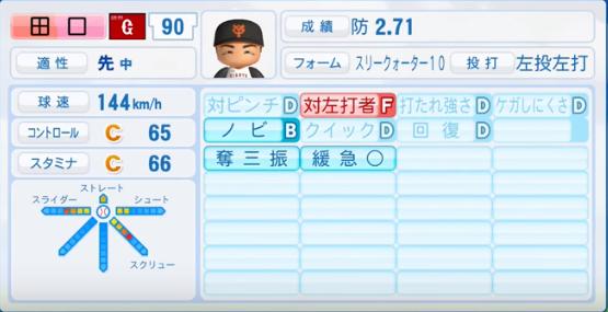 田口麗斗 _巨人_パワプロ能力データ_2016年シーズン終了時