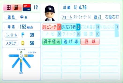 田島慎二_中日ドラゴンズ_パワプロ能力データ_2014年シーズン終了時