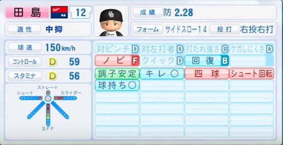 田島慎二_中日ドラゴンズ_パワプロ能力データ_2016年シーズン終了時