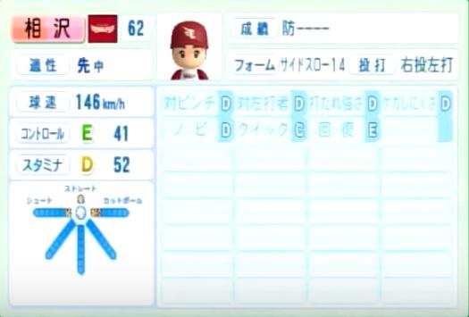 相沢_楽天イーグルス_パワプロ能力データ_2014年シーズン終了時