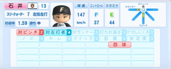 石井裕也_日本ハムファイターズ_パワプロ能力データ_2013年シーズン終了時