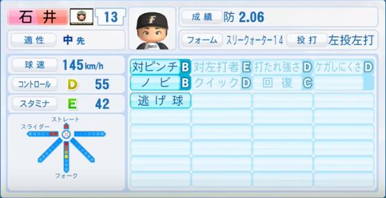 石井_日本ハムファイターズ_パワプロ能力データ_2016年シーズン終了時