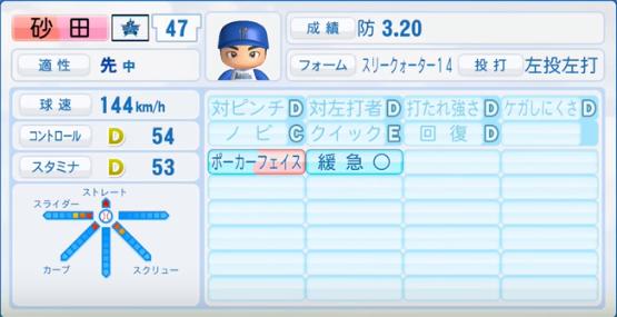 砂田_横浜DeNAベイスターズ_パワプロ能力データ_2016年シーズン終了時
