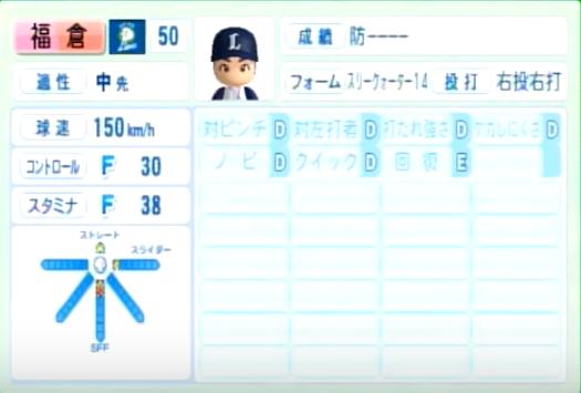福倉_西武ライオンズ_パワプロ能力データ_2014年シーズン終了時