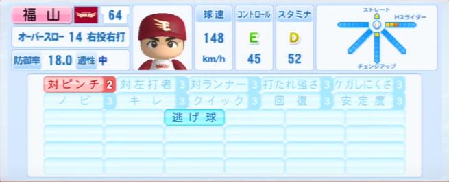 福山_楽天イーグルス_パワプロ能力データ_2013年シーズン終了時