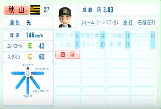 秋山拓巳_阪神タイガース_パワプロ能力データ_2014年シーズン終了時