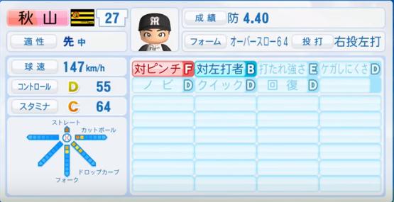 秋山拓巳_阪神タイガース_パワプロ能力データ_2016年シーズン終了時