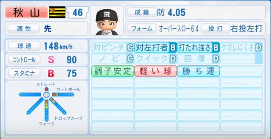 秋山拓巳_阪神タイガース_パワプロ能力データ_2017年シーズン終了時
