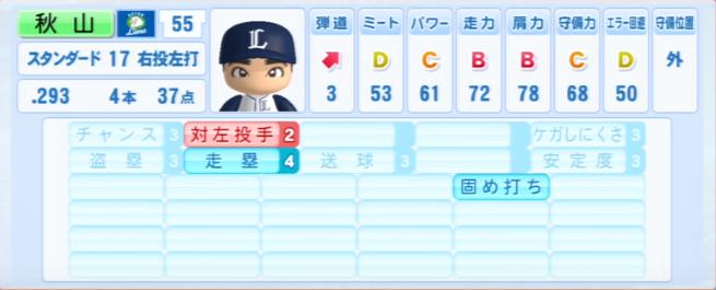 秋山翔吾_西武ライオンズ_パワプロ能力データ_2013年シーズン終了時