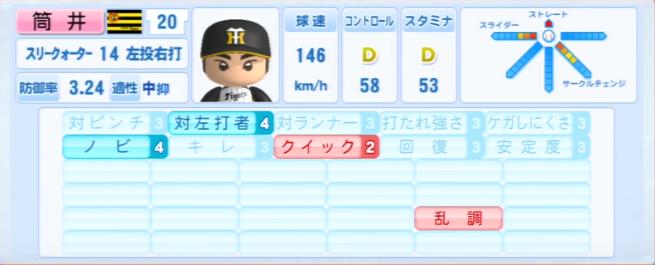 筒井和也_阪神タイガース_パワプロ能力データ_2013年シーズン終了時