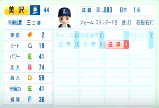 美沢_西武ライオンズ_パワプロ能力データ_2014年シーズン終了時