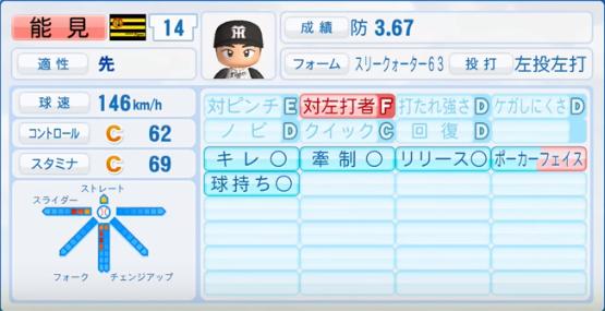能見篤史_阪神タイガース_パワプロ能力データ_2017年シーズン終了時