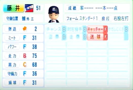 藤井亮太_ヤクルトスワローズ_パワプロ能力データ_2014年シーズン終了時