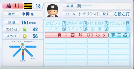 藤川球児_阪神タイガース_パワプロ能力データ_2016年シーズン終了時