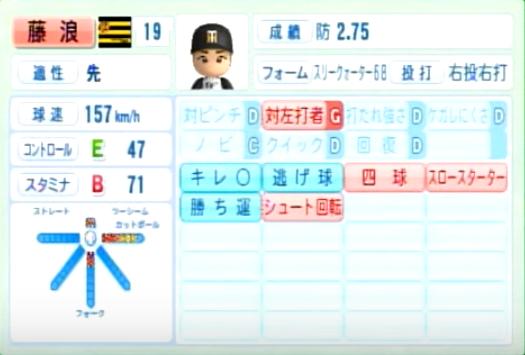 藤浪晋太郎_阪神タイガース_パワプロ能力データ_2014年シーズン終了時