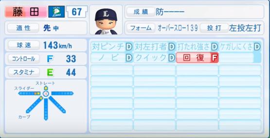 藤田_西武ライオンズ_パワプロ能力データ_2016年シーズン終了時