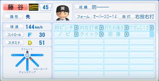 藤谷_阪神タイガース_パワプロ能力データ_2017年シーズン終了時