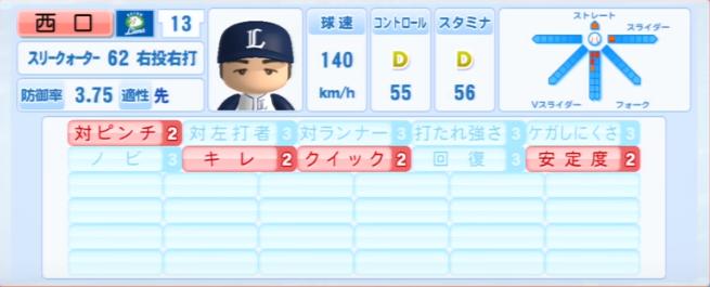 西口文也_西武ライオンズ_パワプロ能力データ_2013年シーズン終了時