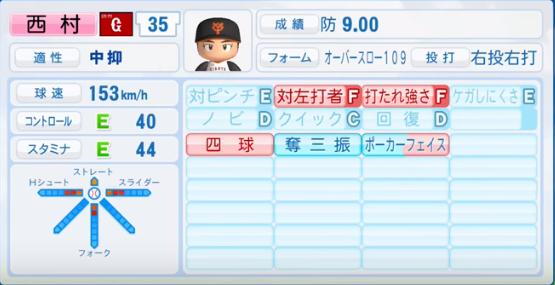 西村健太朗 _巨人_パワプロ能力データ_2016年シーズン終了時