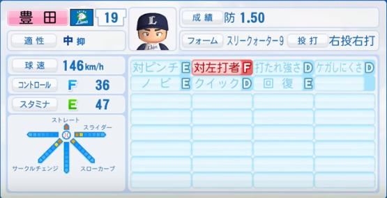 豊田_西武ライオンズ_パワプロ能力データ_2017年シーズン終了時