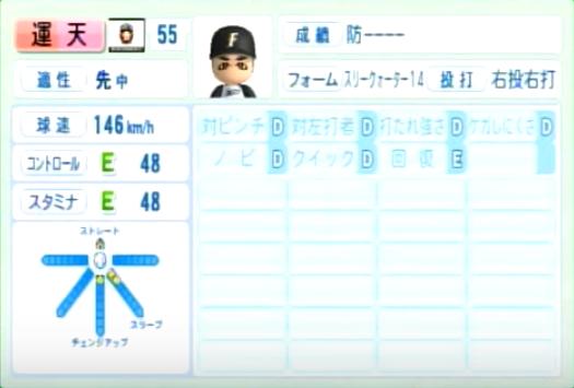 運天_日本ハムファイターズ_パワプロ能力データ_2014年シーズン終了時